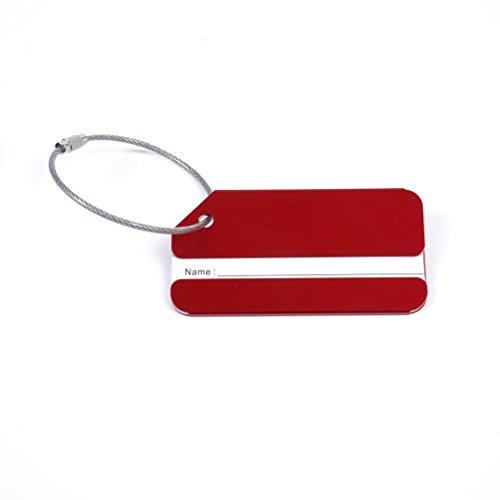 Aluminum Airplane Pattern Travel Luggage Baggage Handbag Tag (Red) - 3