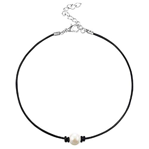 MJartoria Girls Black PU Leather Cord Faux Pearl Choker Necklace (Single White)