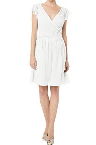 Ausschnitt Weiß Linie Ivydressing V Promkleid Kurz A Damen Abendkleid Einfach Brautjungfernkleid Festkleid wxPPqZtOn