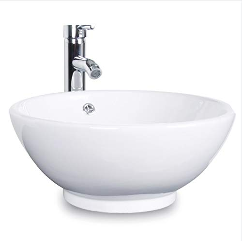 Bathroom Ceramic Vessel Sink Brass Faucet Combo Lavatory Modern Pop Up Drain Contemporary Drop In Countertop; Chrome; 12
