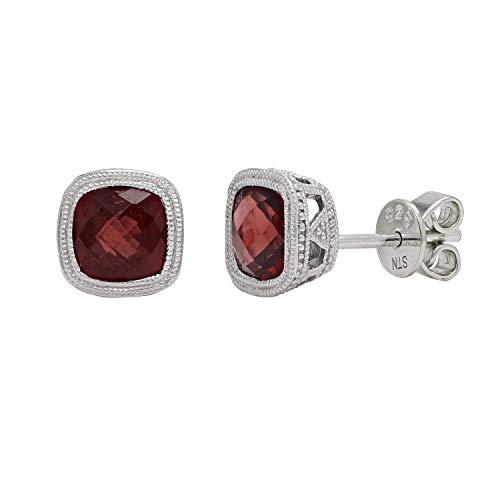 .925 Sterling Silver & Garnet Petite Double Milgrain Checkerboard-Cushion-Cut Halo Stud Earrings, 1/4