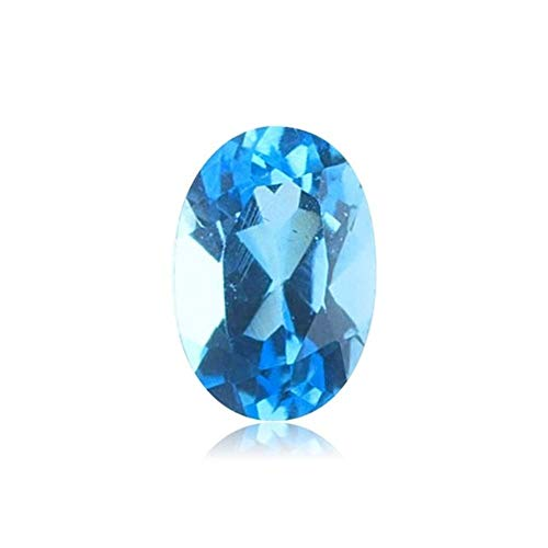 3.85-4.97 Cts of 9x7 mm AAA Oval Swiss Blue Topaz ( 1 pc ) Loose Gemstone