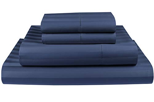 - Threadmill Home Linen 500 Thread Count 100% Cotton Sheets, 2CM Damask Stripe Folkstone Blue King Size Sheets 4 Piece ELS Cotton Bed Sheets, Soft & Silky Sateen Fits Mattress Up to 18'' Deep Pocket