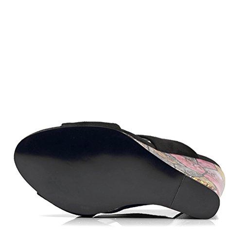 Hn Black Con Para Shoes Mujer Sandalias Cuña SwrTgqSO