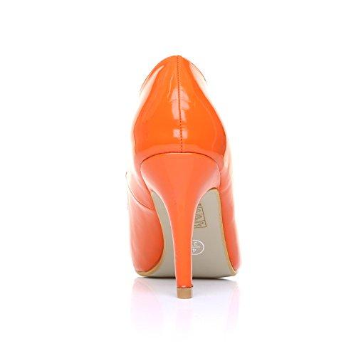 High Heels Stöckelschuhe Pearl orange Lackleder PU Leder Stilettos klassische Pumps Oranges Lackleder