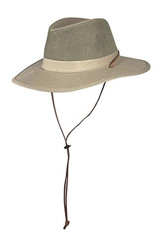Large SPF 50+ Vented Outback Safari Sun Hat w/ Chin Strap, Mesh Breezer Cap