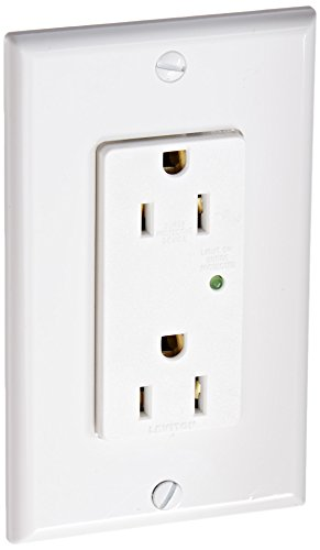 Leviton 5280-W 15 Amp, 125 Volt, Decora Plus Duplex Surge Suppressor Receptacle, Straight Blade, Industrial Grade, Self Grounding, White