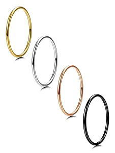 FIBO STEEL 4 Pcs 1MM Stainless Steel Womens Stacking Rings for Girls Wedding Engagement Rings,Size 3-9