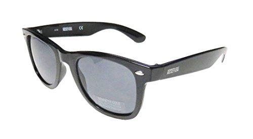 Kenneth Cole Reaction Sunglass Black Wayfarer Plastic Fashion, Smoke Lens 1135 - Sunglasses Mens Kenneth Cole