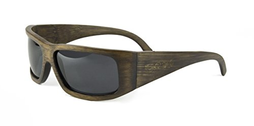 Tiger Paw - Sport Bamboo Sunglasses with Polarized Lenses (Wrap Arounds) (Dark Brown, - Sunglasses Recycled Can Be