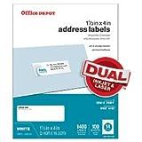 Office Depot White Inkjet/Laser Address Labels, 1 1/3in. x 4in, Pack Of 1,400, 505-O004-0019
