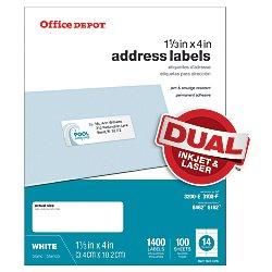 Office Depot White Inkjet/Laser Address Labels, 1 1/3in. x 4in., Pack Of 1,400, 505-O004-0019