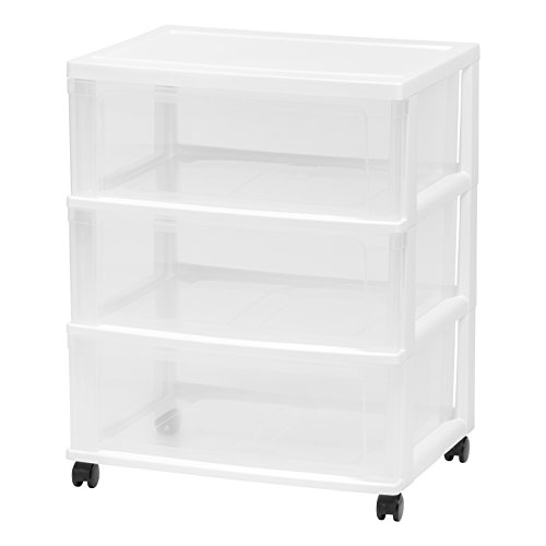 IRIS 3 Drawer Wide Chest, White (Of Chest Plastic White Drawers)