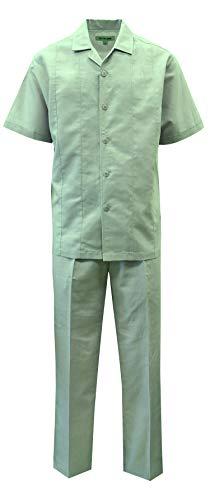 STACY ADAMS Men's Solid Linen Set (XXL/42, Jade) ()