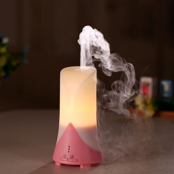 TERUTERU - Ultrasonic Humidifier USB Air Purifier Aroma Diffuser Spray with Time Setting, Cool Air Humidifier, Warm White LED Lamps (Pink)