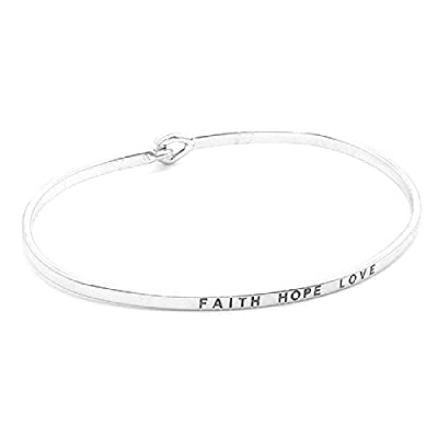 "Top Women's Silver Tone ""Faith Hope Love"" Thin Hook Bracelet. supplier"