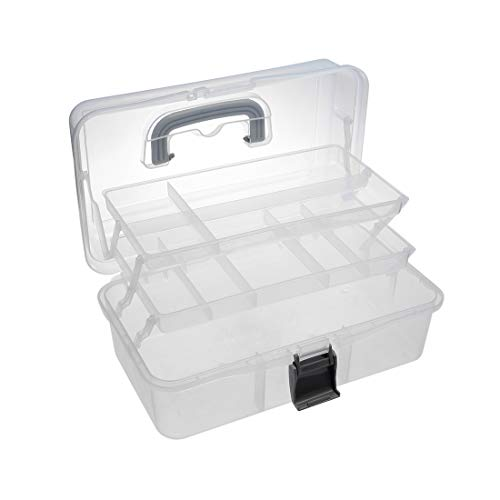 uxcell 13-inch Tool Box, Plastic Tool Box with Tray and Organizers Includes 3 Layers Removable 10 Small Parts Boxes Transparent