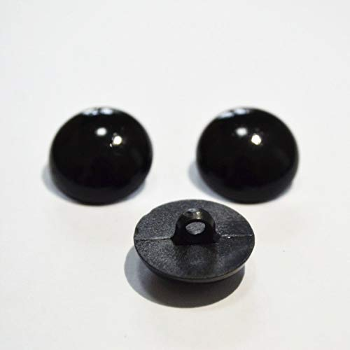 100pcs Sewing Shank Eyes Assorted Sizes Round Domed Buttons Sew-On Black Plastic Safety Eye for Toy DIY Teddy Bear Animal Plush Doll Puppet Crafts ()
