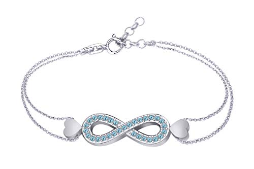 AFFY Round Shape Simulated Aquamarine Infinity Link Chain Bracelets in 14k White Gold Over Sterling Silver ()