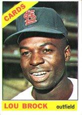 Lou Baseball Brock Card (1966 Topps Regular (Baseball) card#125 lou brock of the St. Louis Cardinals Grade Fair/Poor)