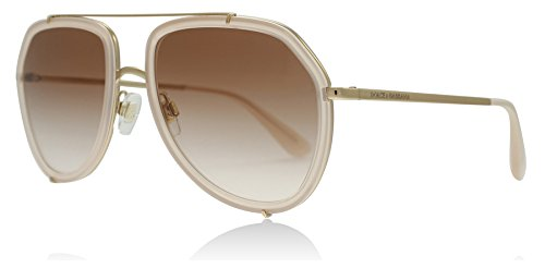 Dolce & Gabbana Women's Metal Woman Aviator Sunglasses, Opal Pink/Pink Gold, 55 mm by Dolce & Gabbana