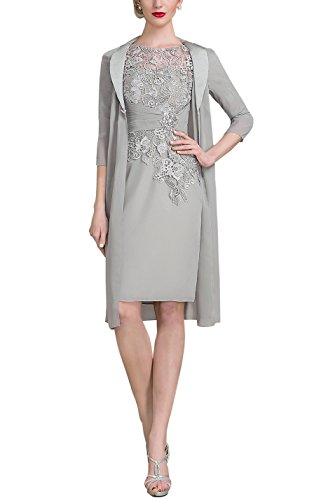 AlisaBridal Women's Spring High Neck Knee-Length Chiffon Lace Bodice Mother Of The Bride Dress With Jacket Formal Dress Silver 6