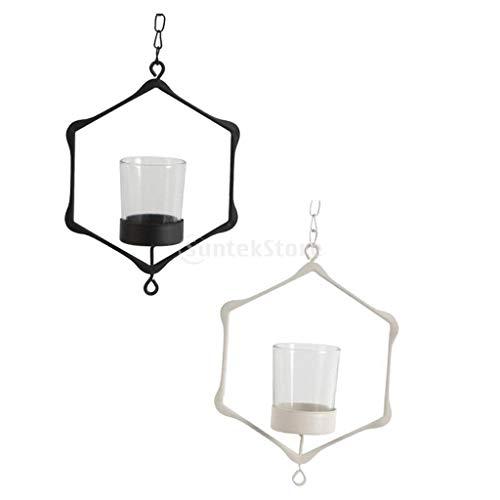 (Candle Holders - Wall Moroccan Iron Hanging Hollow Wedding Candleholder Case Lantern Shade Light 2 Set - Iron Tiny Tray Tea Fashion Menorah Hanging 20 Altar Crystal)