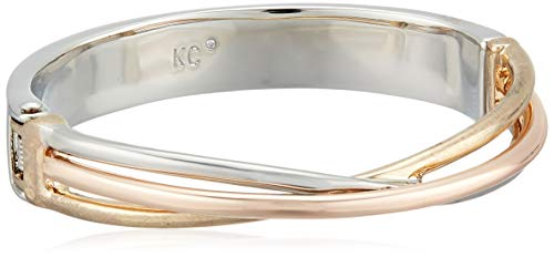 Kenneth Cole New York Women's Tri-Tone Twist Hinged Bangle Bracelet, One Size