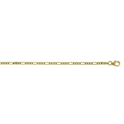 Jaune 2,4 mm 14 carats JewelryWeb Figaro Bracelet chaîne