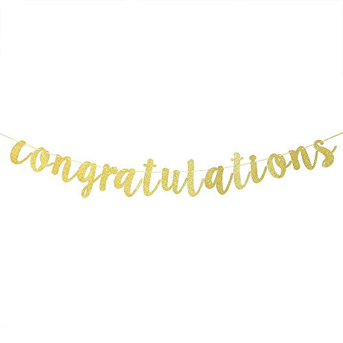 Gold Glitter Congratulations Banner Wedding, Anniversary, Graduation, Retirement Party Decorations Supplies]()