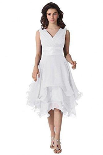Miranda's Bridal Women's Sleeveless V Neck Tiered A Line Bridesmaid Dress Ivory US14 - Miranda Ivory Prom Dress