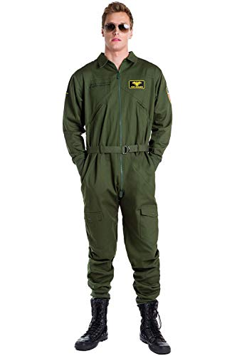 Men's Pilot Halloween Costume - Green Pilot Jumpsuit: -