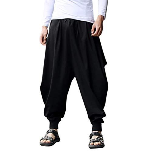 (vermers Men's Plus Size Wide Leg Harem Pants - Mens Casual Cotton Linen Festival Baggy Solid Trousers Retro Gypsy Pants(2XL, Black))