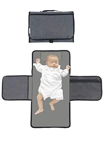 Kit de cambiador portátil de viaje para bebé, cambiador de pañales con alfombrilla extra larga, bolsillos multiusos,...