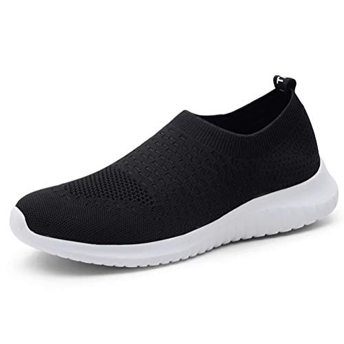 KONHILL Women's Lightweight Walking Shoes - Athletic Breathable Mesh Running Slip-on Sneakers, Black, 35