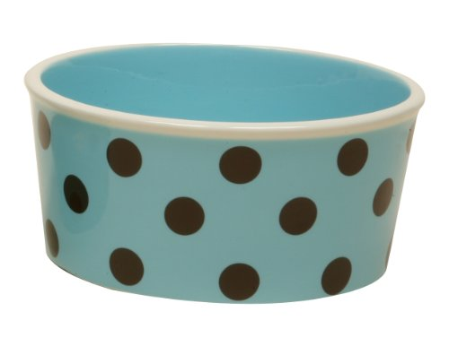Terramoto Ceramic Pet Food Bowl, 8-Inch, Turquoise with Chocolate Polka Dots, My Pet Supplies
