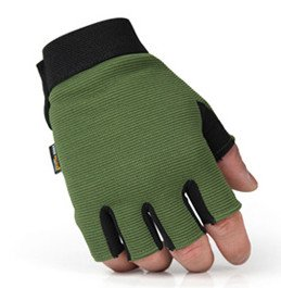 Qishi's Free Soldier Half-finger Wear-resisiting Leather Golves for Men and Women (large, army green)