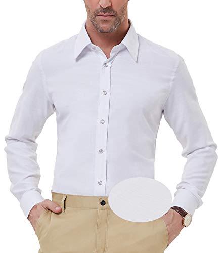 (PAUL JONES Men's Casual Shirts for Summer Button Down Shirt, White)