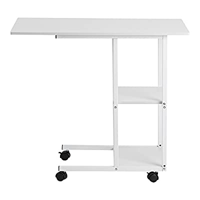 White Hospital Bed Table Portable Laptop Computer Desk Cart Mobile Notebook Sofa Couch Snack Breakfast Table with Storage Shelves