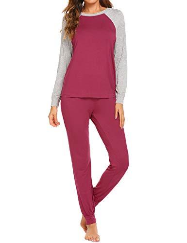 (Ekouaer Pajama Set Womens Soft Sleepwear Casual Loungewear Set Long Sleeve Pjs with Long Pants,Sakura)