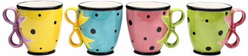 Appletree Design Dilly Dots Teacups, 4-Inch, Set of 4 (Whimsical Tea Sets)