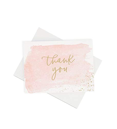 Thank You Cards | 48 Blank Gold Foil Watercolor-Wedding Baby & Bridal Shower Graduation
