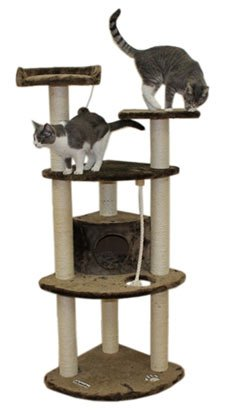 Kitty Cat Condo Furniture with Soft Bed, Perch, Rope and Toy, Gray Color
