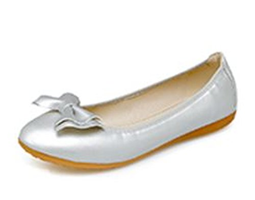 Womens Flats Dress Shoes Bow Slip Foldable satisfied Ballet Silver On dn80RwxYq