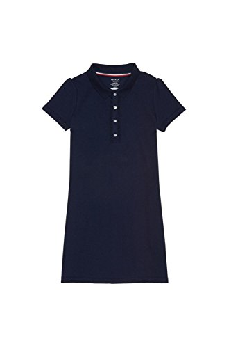 French Toast Big Girls' Short Sleeve Ruffle Placket Polo Dress, Navy, M (7/8) (Uniform School Dress)