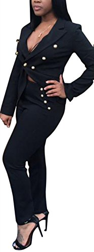 Allonly Women's Double Breasted Button Jacket Pants Suit - Suit Breasted Double Skirt