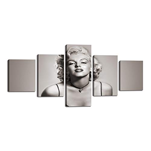 Dream Marilyn Monroe Printed Painting on Canvas Famous People Series Wall Art Black and White Artwork Prints Picture for Living Room Home Decoration Framed Wall Decor Ready to Hang(50''Wx24''H)]()