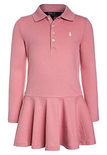 RALPH LAUREN Big Girl Cotton Long Sleeve Polo Dress XL(16) Rugby Pink