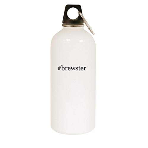 #brewster - 20oz Hashtag Stainless Steel White Water Bottle with Carabiner, White