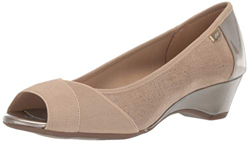 Anne Klein Women's Memory Wedge Pump, Taupe, 9 M US Anne Klein Peep Toe Shoes